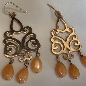Barse! Bronze Genuine Stone Chandelier Earrings!